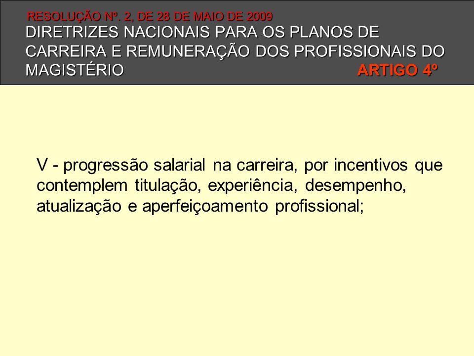 DIRETRIZES NACIONAIS PARA OS PLANOS DE CARREIRA E REMUNERAÇÃO DOS PROFISSIONAIS DO MAGISTÉRIO ARTIGO 4º V - progressão salarial na carreira, por incen