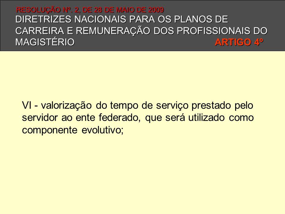 DIRETRIZES NACIONAIS PARA OS PLANOS DE CARREIRA E REMUNERAÇÃO DOS PROFISSIONAIS DO MAGISTÉRIO ARTIGO 4º VI - valorização do tempo de serviço prestado