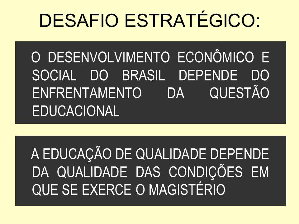DESAFIO ESTRATÉGICO: O DESENVOLVIMENTO ECONÔMICO E SOCIAL DO BRASIL DEPENDE DO ENFRENTAMENTO DA QUESTÃO EDUCACIONAL A EDUCAÇÃO DE QUALIDADE DEPENDE DA