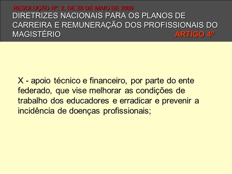 DIRETRIZES NACIONAIS PARA OS PLANOS DE CARREIRA E REMUNERAÇÃO DOS PROFISSIONAIS DO MAGISTÉRIO ARTIGO 4º X - apoio técnico e financeiro, por parte do e