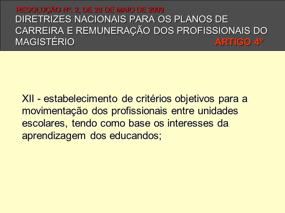 DIRETRIZES NACIONAIS PARA OS PLANOS DE CARREIRA E REMUNERAÇÃO DOS PROFISSIONAIS DO MAGISTÉRIO ARTIGO 4º XII - estabelecimento de critérios objetivos p