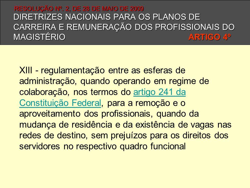 DIRETRIZES NACIONAIS PARA OS PLANOS DE CARREIRA E REMUNERAÇÃO DOS PROFISSIONAIS DO MAGISTÉRIO ARTIGO 4º XIII - regulamentação entre as esferas de admi