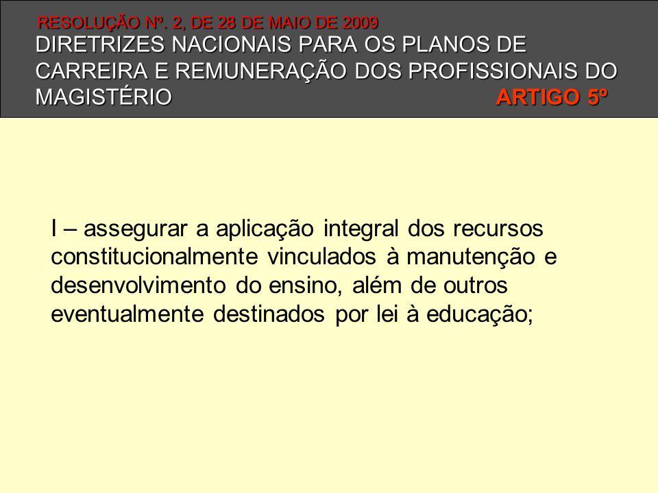 DIRETRIZES NACIONAIS PARA OS PLANOS DE CARREIRA E REMUNERAÇÃO DOS PROFISSIONAIS DO MAGISTÉRIO ARTIGO 5º I – assegurar a aplicação integral dos recurso