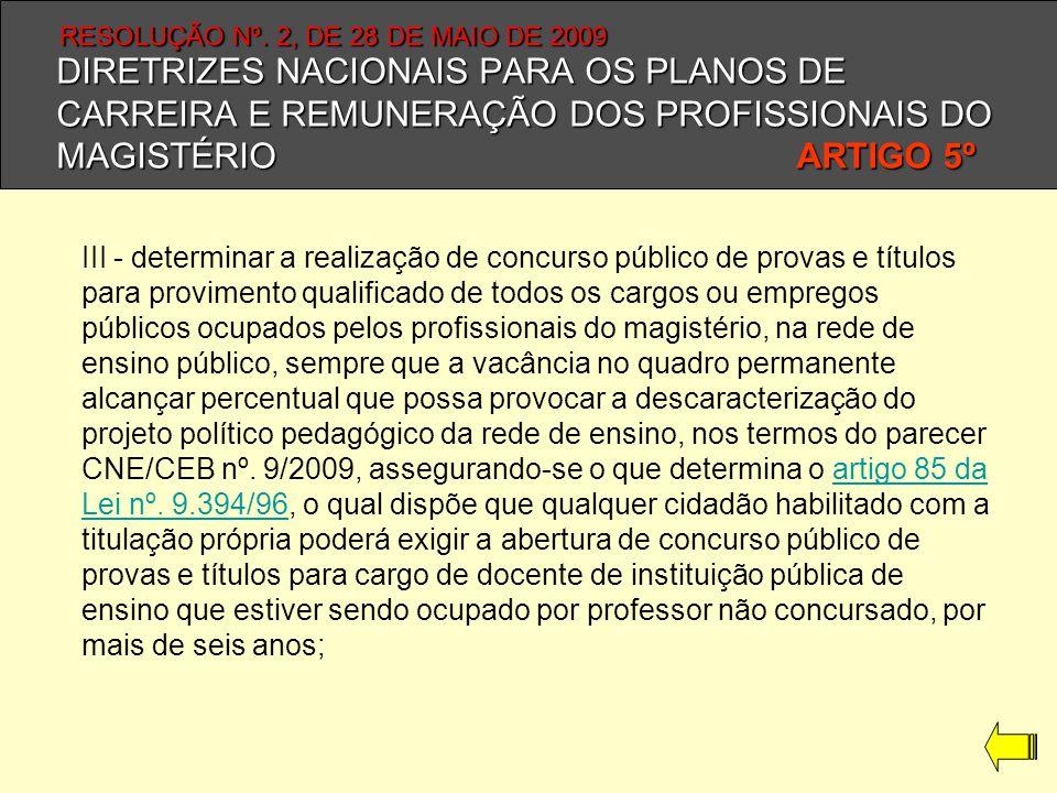 DIRETRIZES NACIONAIS PARA OS PLANOS DE CARREIRA E REMUNERAÇÃO DOS PROFISSIONAIS DO MAGISTÉRIO ARTIGO 5º III - determinar a realização de concurso públ
