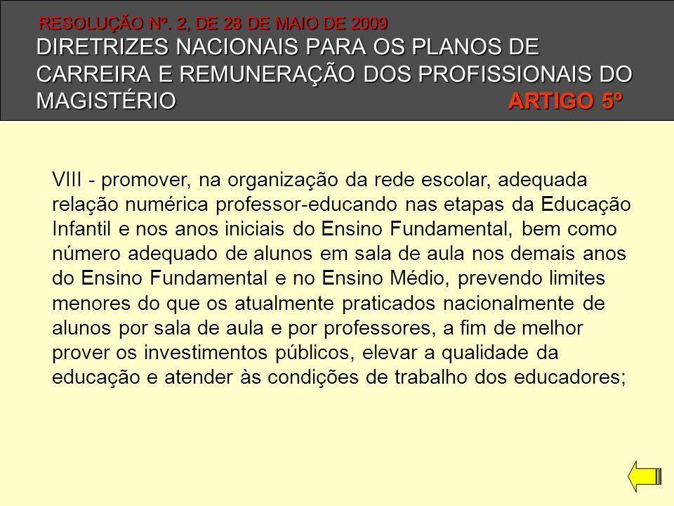 DIRETRIZES NACIONAIS PARA OS PLANOS DE CARREIRA E REMUNERAÇÃO DOS PROFISSIONAIS DO MAGISTÉRIO ARTIGO 5º VIII - promover, na organização da rede escola