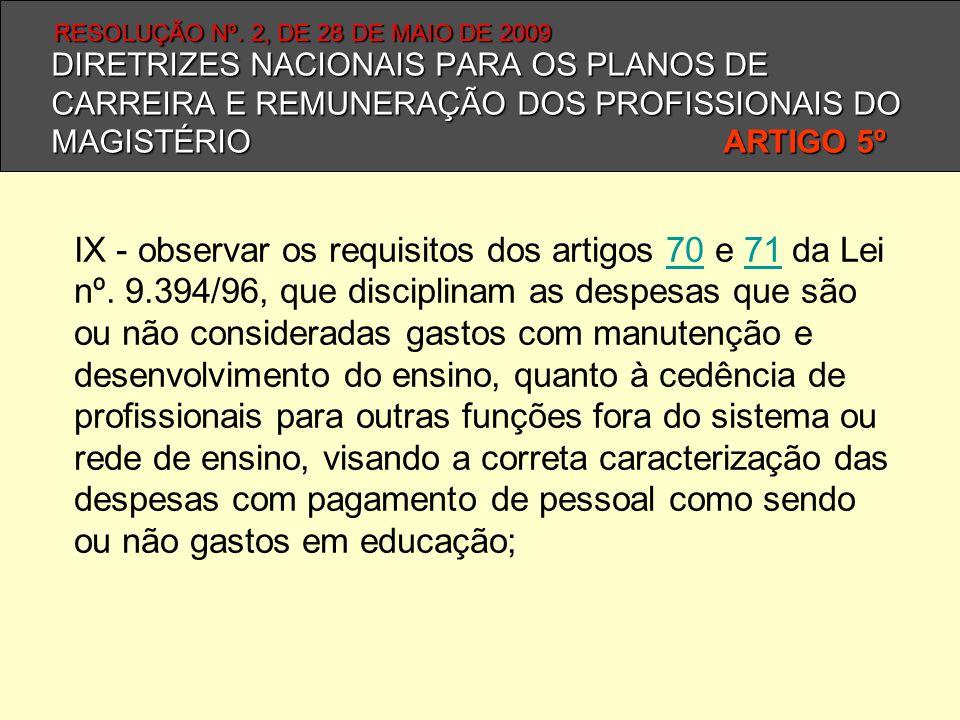 DIRETRIZES NACIONAIS PARA OS PLANOS DE CARREIRA E REMUNERAÇÃO DOS PROFISSIONAIS DO MAGISTÉRIO ARTIGO 5º IX - observar os requisitos dos artigos 70 e 7