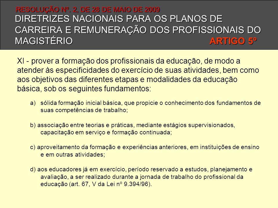 DIRETRIZES NACIONAIS PARA OS PLANOS DE CARREIRA E REMUNERAÇÃO DOS PROFISSIONAIS DO MAGISTÉRIO ARTIGO 5º XI - prover a formação dos profissionais da ed