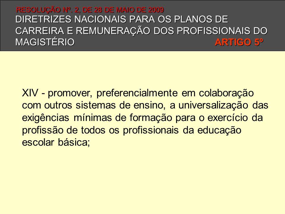 DIRETRIZES NACIONAIS PARA OS PLANOS DE CARREIRA E REMUNERAÇÃO DOS PROFISSIONAIS DO MAGISTÉRIO ARTIGO 5º XIV - promover, preferencialmente em colaboraç