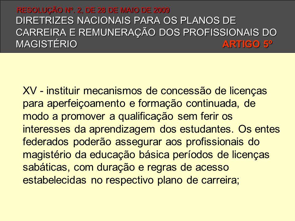 DIRETRIZES NACIONAIS PARA OS PLANOS DE CARREIRA E REMUNERAÇÃO DOS PROFISSIONAIS DO MAGISTÉRIO ARTIGO 5º XV - instituir mecanismos de concessão de lice