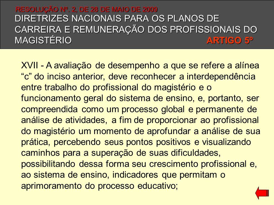 DIRETRIZES NACIONAIS PARA OS PLANOS DE CARREIRA E REMUNERAÇÃO DOS PROFISSIONAIS DO MAGISTÉRIO ARTIGO 5º XVII - A avaliação de desempenho a que se refe