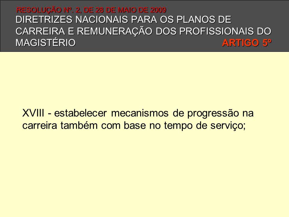 DIRETRIZES NACIONAIS PARA OS PLANOS DE CARREIRA E REMUNERAÇÃO DOS PROFISSIONAIS DO MAGISTÉRIO ARTIGO 5º XVIII - estabelecer mecanismos de progressão n