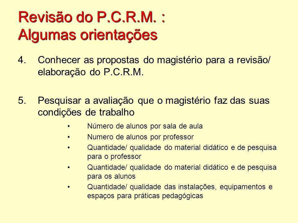 4.Conhecer as propostas do magistério para a revisão/ elaboração do P.C.R.M. 5.Pesquisar a avaliação que o magistério faz das suas condições de trabal