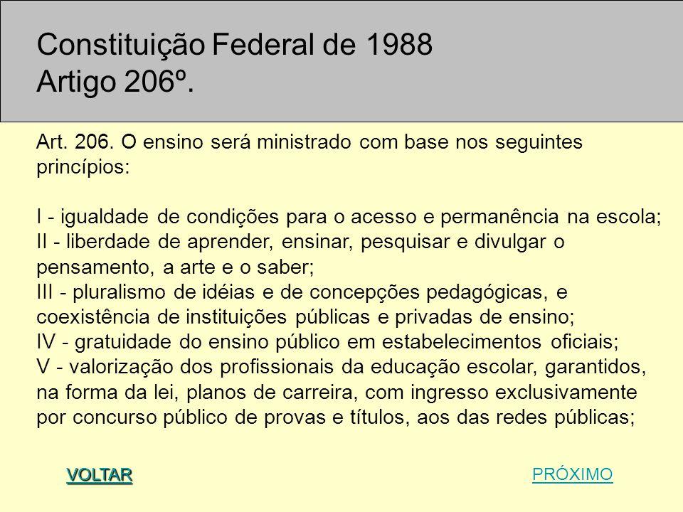 Constituição Federal de 1988 Artigo 206º. Art. 206. O ensino será ministrado com base nos seguintes princípios: I - igualdade de condições para o aces