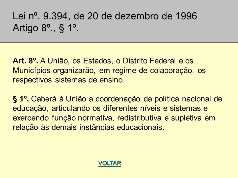 Lei nº. 9.394, de 20 de dezembro de 1996 Artigo 8º., § 1º. Art. 8º. A União, os Estados, o Distrito Federal e os Municípios organizarão, em regime de