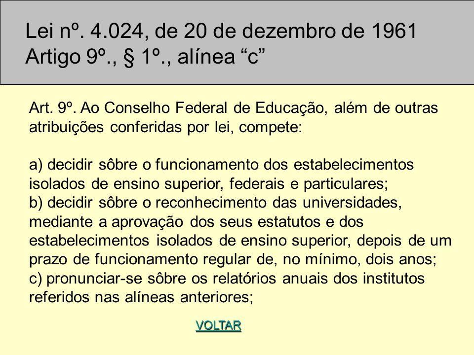 Lei nº. 4.024, de 20 de dezembro de 1961 Artigo 9º., § 1º., alínea c Art. 9º. Ao Conselho Federal de Educação, além de outras atribuições conferidas p