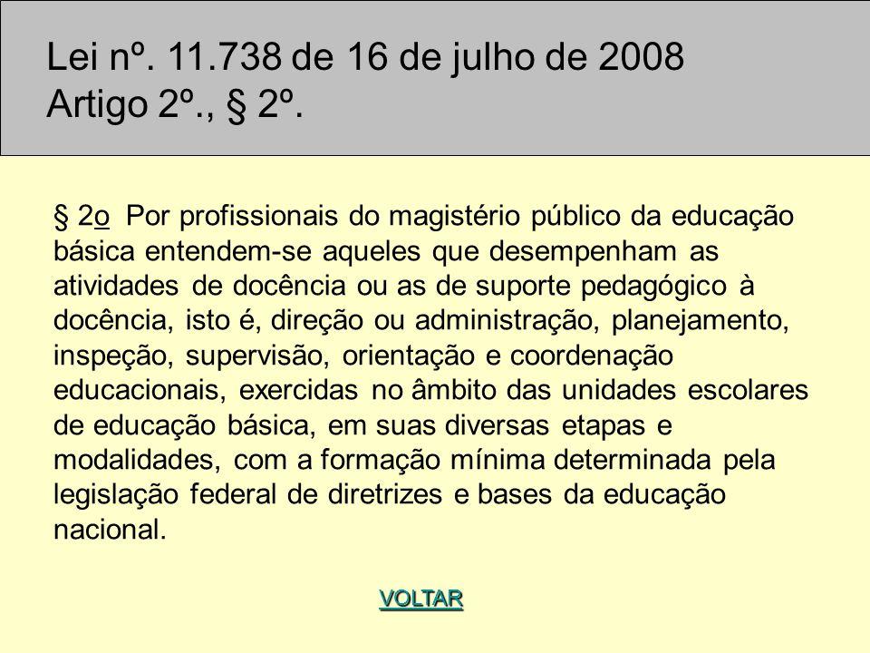 Lei nº. 11.738 de 16 de julho de 2008 Artigo 2º., § 2º. § 2o Por profissionais do magistério público da educação básica entendem-se aqueles que desemp