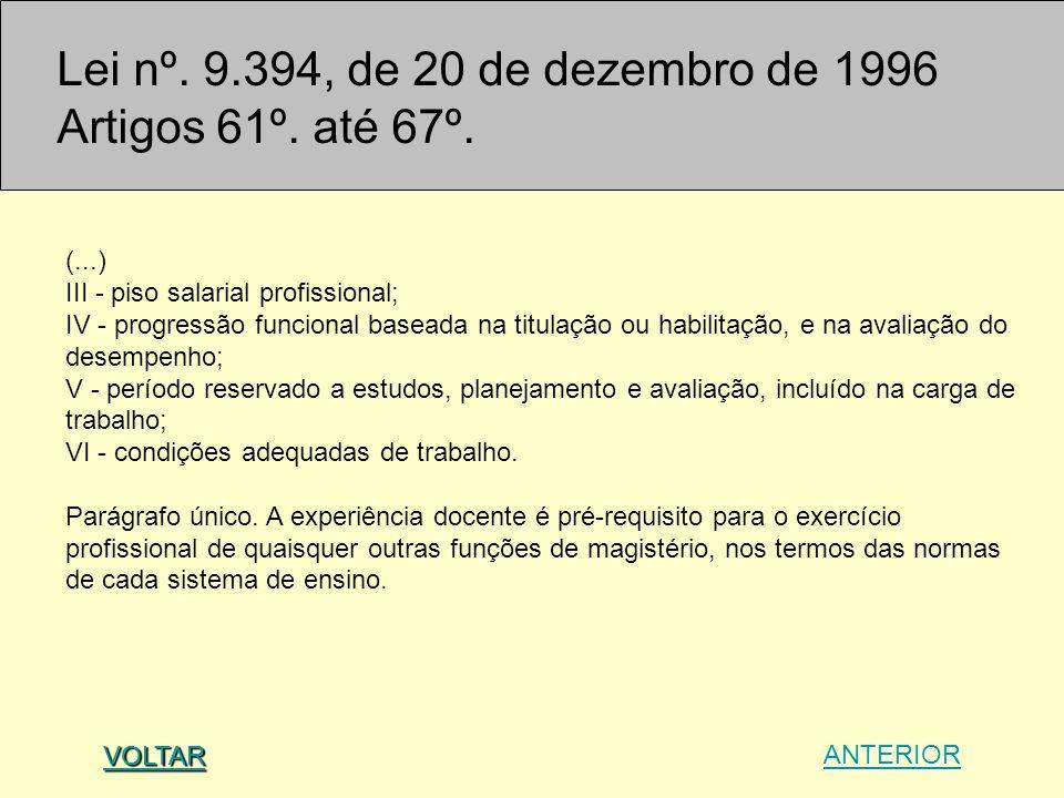 (...) III - piso salarial profissional; IV - progressão funcional baseada na titulação ou habilitação, e na avaliação do desempenho; V - período reser