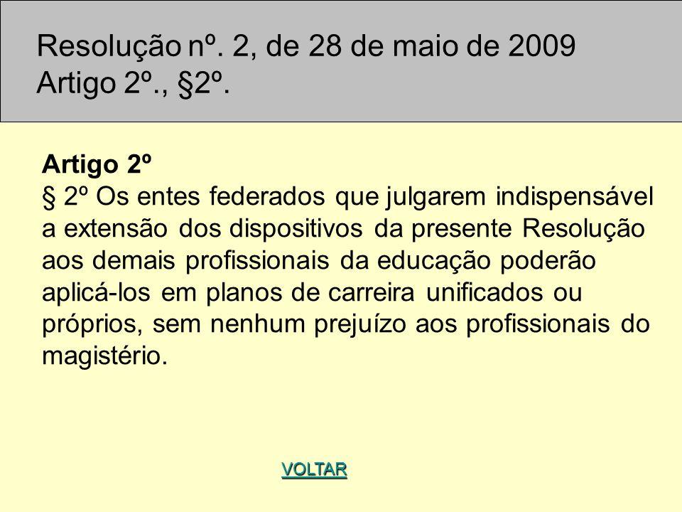 VOLTAR Artigo 2º § 2º Os entes federados que julgarem indispensável a extensão dos dispositivos da presente Resolução aos demais profissionais da educ