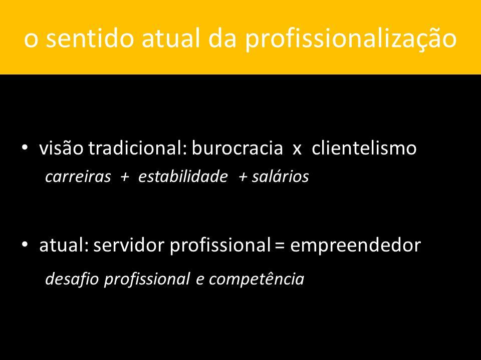 o sentido atual da profissionalização visão tradicional: burocracia x clientelismo carreiras + estabilidade + salários atual: servidor profissional = empreendedor desafio profissional e competência