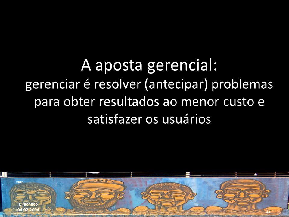 R.Pacheco 04.02.2004 32 A aposta gerencial: gerenciar é resolver (antecipar) problemas para obter resultados ao menor custo e satisfazer os usuários