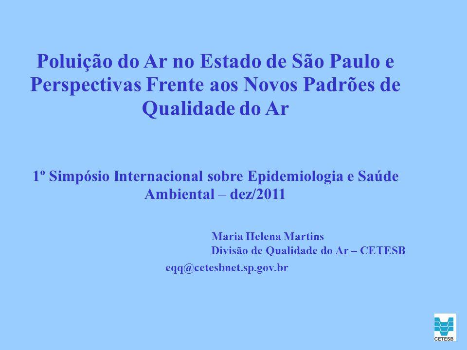 Poluição do Ar no Estado de São Paulo e Perspectivas Frente aos Novos Padrões de Qualidade do Ar 1º Simpósio Internacional sobre Epidemiologia e Saúde