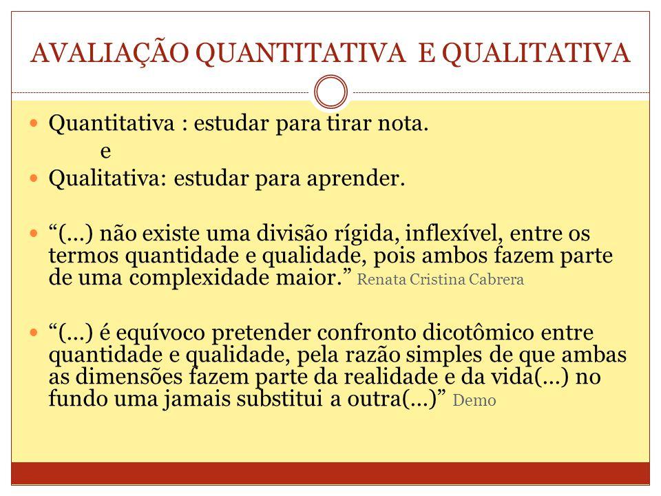 AVALIAÇÃO QUANTITATIVA E QUALITATIVA Quantitativa : estudar para tirar nota.
