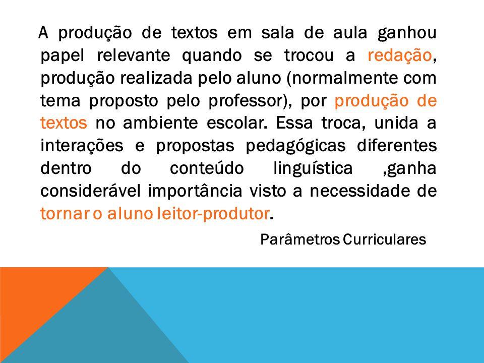 A produção de textos em sala de aula ganhou papel relevante quando se trocou a redação, produção realizada pelo aluno (normalmente com tema proposto pelo professor), por produção de textos no ambiente escolar.