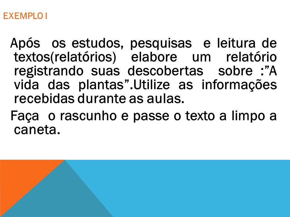 EXEMPLO II Redija um artigo de opinião, em linguagem culta, de modo a expressar com clareza os argumentos apresentados em defesa de sua posição.