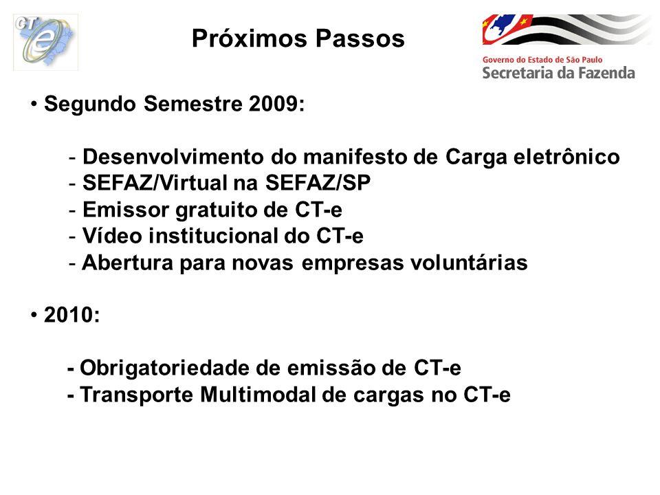Segundo Semestre 2009: - Desenvolvimento do manifesto de Carga eletrônico - SEFAZ/Virtual na SEFAZ/SP - Emissor gratuito de CT-e - Vídeo institucional