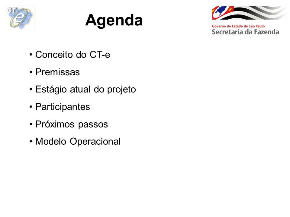 Agenda Conceito do CT-e Premissas Estágio atual do projeto Participantes Próximos passos Modelo Operacional