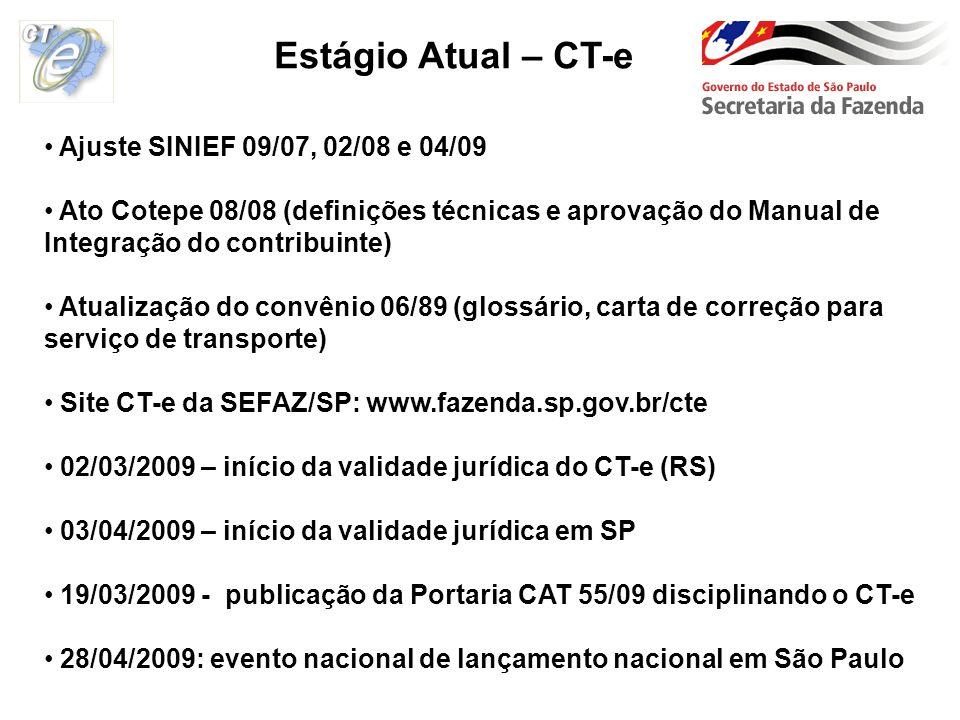 Ajuste SINIEF 09/07, 02/08 e 04/09 Ato Cotepe 08/08 (definições técnicas e aprovação do Manual de Integração do contribuinte) Atualização do convênio
