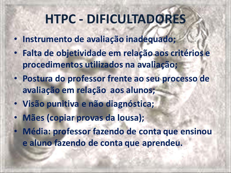 HTPC - DIFICULTADORES Instrumento de avaliação inadequado; Falta de objetividade em relação aos critérios e procedimentos utilizados na avaliação; Pos