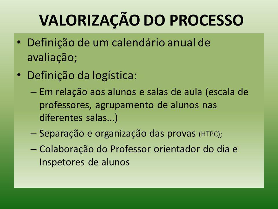 VALORIZAÇÃO DO PROCESSO Definição de um calendário anual de avaliação; Definição da logística: – Em relação aos alunos e salas de aula (escala de prof
