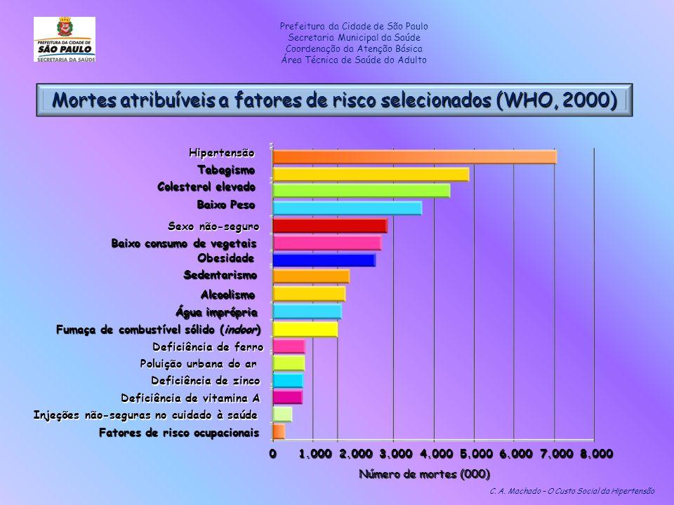 Mortes atribuíveis a fatores de risco selecionados (WHO, 2000) C. A. Machado – O Custo Social da Hipertensão 01.0002.0003.0004.0005.0006.0007.0008.000