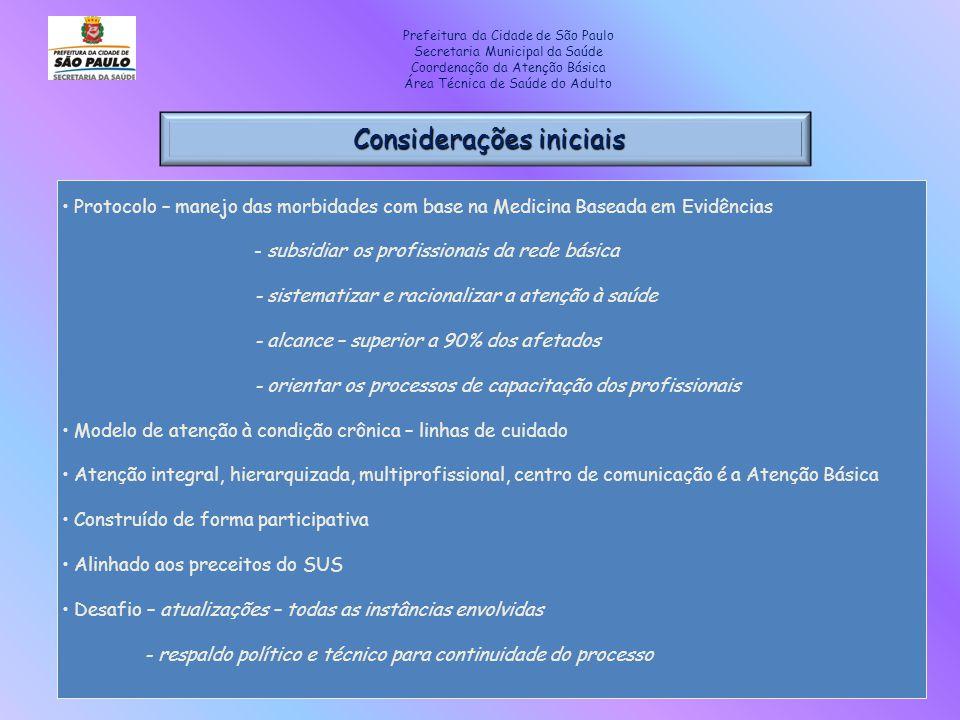 Considerações iniciais Considerações iniciais Prefeitura da Cidade de São Paulo Secretaria Municipal da Saúde Coordenação da Atenção Básica Área Técni
