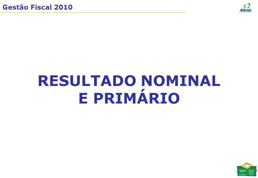 Gestão Fiscal 2010 RESULTADO NOMINAL E PRIMÁRIO