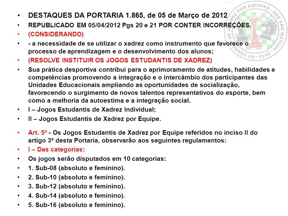 DESTAQUES DA PORTARIA 1.865, de 05 de Março de 2012 REPUBLICADO EM 05/04/2012 Pgs 20 e 21 POR CONTER INCORREÇÕES. (CONSIDERANDO) - a necessidade de se