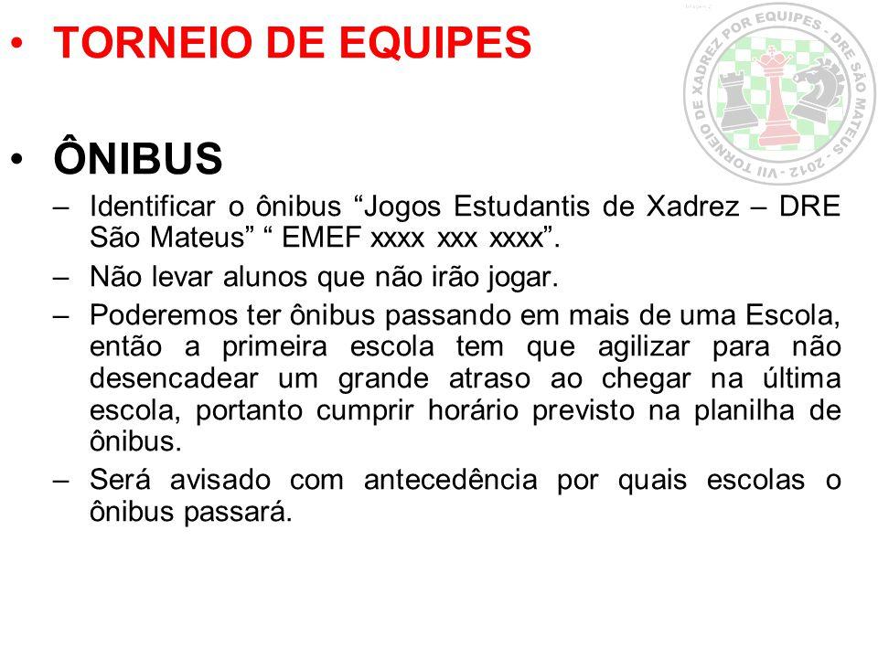 TORNEIO DE EQUIPES ÔNIBUS –Identificar o ônibus Jogos Estudantis de Xadrez – DRE São Mateus EMEF xxxx xxx xxxx. –Não levar alunos que não irão jogar.