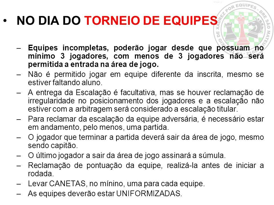 NO DIA DO TORNEIO DE EQUIPES –Equipes incompletas, poderão jogar desde que possuam no mínimo 3 jogadores, com menos de 3 jogadores não será permitida