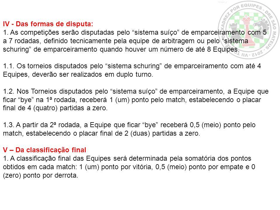 IV - Das formas de disputa: 1. As competições serão disputadas pelo sistema suíço de emparceiramento com 5 a 7 rodadas, definido tecnicamente pela equ