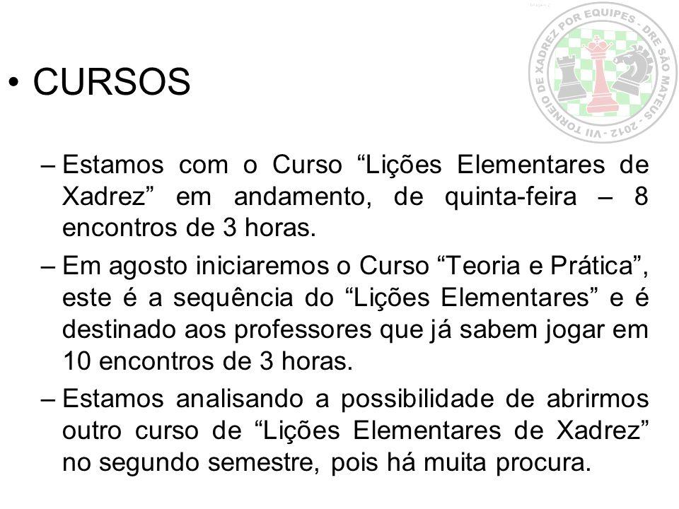 CURSOS –Estamos com o Curso Lições Elementares de Xadrez em andamento, de quinta-feira – 8 encontros de 3 horas. –Em agosto iniciaremos o Curso Teoria