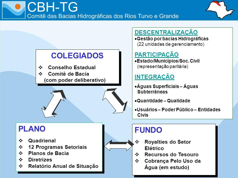 COLEGIADOS Conselho Estadual Comitê de Bacia (com poder deliberativo) COLEGIADOS Conselho Estadual Comitê de Bacia (com poder deliberativo) DESCENTRAL