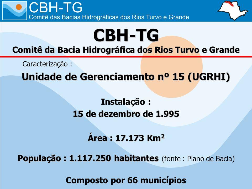 CBH-TG Comitê da Bacia Hidrográfica dos Rios Turvo e Grande Caracterização : Unidade de Gerenciamento nº 15 (UGRHI) Instalação : 15 de dezembro de 1.995 Área : 17.173 Km 2 População : 1.117.250 habitantes População : 1.117.250 habitantes (fonte : Plano de Bacia) Composto por 66 municípios