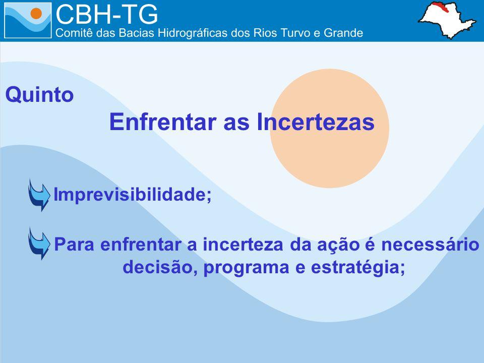 Quinto Enfrentar as Incertezas Imprevisibilidade; Para enfrentar a incerteza da ação é necessário decisão, programa e estratégia;