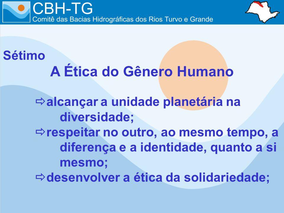 Sétimo A Ética do Gênero Humano alcançar a unidade planetária na diversidade; respeitar no outro, ao mesmo tempo, a diferença e a identidade, quanto a si mesmo; desenvolver a ética da solidariedade;