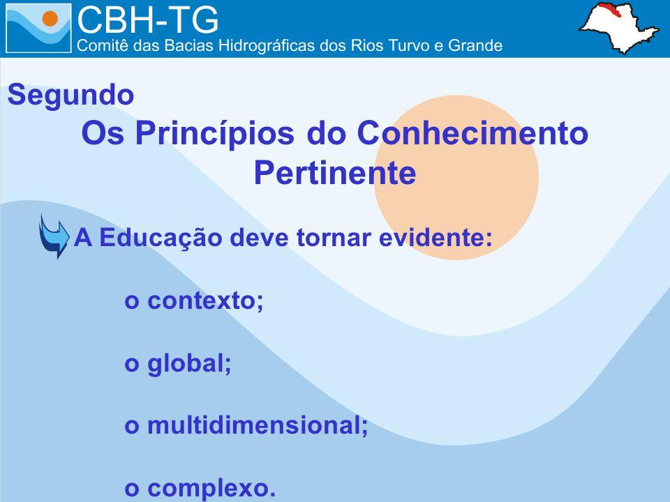 Segundo Os Princípios do Conhecimento Pertinente A Educação deve tornar evidente: o contexto; o global; o multidimensional; o complexo.