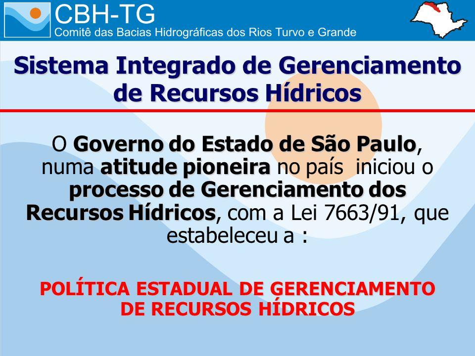 Sistema Integrado de Gerenciamento de Recursos Hídricos Governo do Estado de São Paulo atitude pioneira processo de Gerenciamento dos Recursos Hídricos O Governo do Estado de São Paulo, numa atitude pioneira no país iniciou o processo de Gerenciamento dos Recursos Hídricos, com a Lei 7663/91, que estabeleceu a : POLÍTICA ESTADUAL DE GERENCIAMENTO DE RECURSOS HÍDRICOS