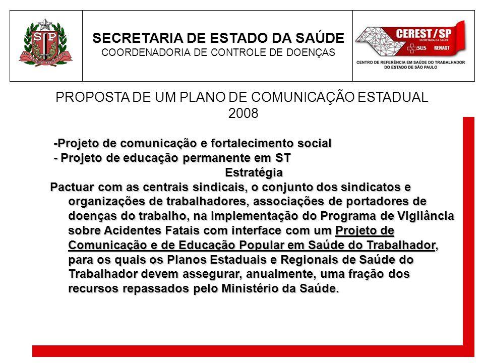 PROPOSTA DE UM PLANO DE COMUNICAÇÃO ESTADUAL 2008 -Projeto de comunicação e fortalecimento social -Projeto de comunicação e fortalecimento social - Pr