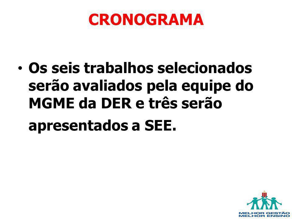 CRONOGRAMA Os seis trabalhos selecionados serão avaliados pela equipe do MGME da DER e três serão apresentados a SEE.