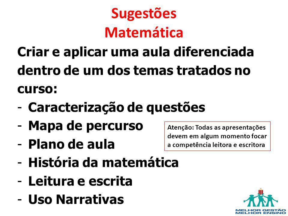 Sugestões Matemática Criar e aplicar uma aula diferenciada dentro de um dos temas tratados no curso: -Caracterização de questões -Mapa de percurso -Pl